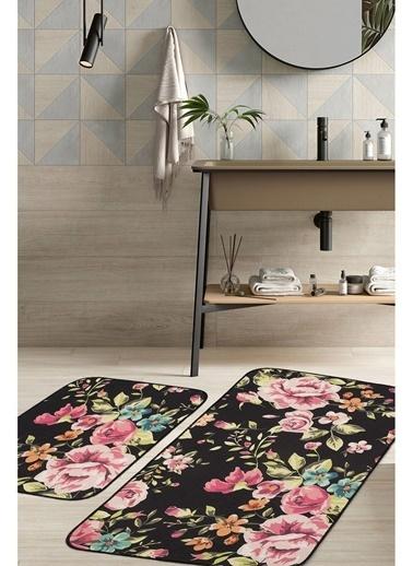 Hamur Floral 2 'li Set Banyo Paspası Kaymaz Taban Banyo Halısı Siyah